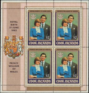 1982 Cook Islands #679-680, Complete Set(2), Sheets of 4, Never Hinged