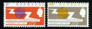BARBADOS Queen Elizabeth II 1965 I.T.U. Centenary Set SG 320 & SG 321 MNH
