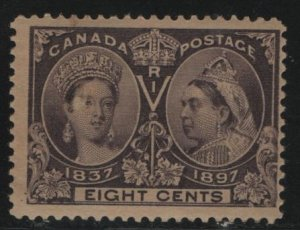 Canada, 56, HINGED, THIN FACIAL SCRAP, 1897, Queen Victoria 1837 and 1897
