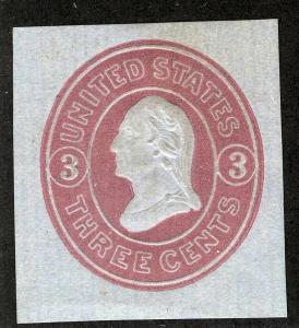 US Sc U36 Pink on Blue 6¢ Unused CUT SQUARE Vert Laid Paper