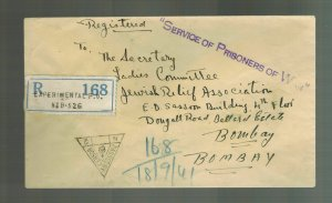 1941 India POW Central Internment Camp Cover to Jewish  Relief Associat Bombay