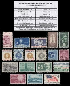 US Stamps 1959 Complete Mint Year Set of Vintage Commemorative Stamps