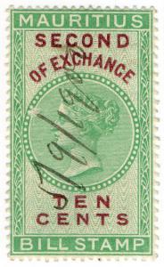 (I.B) Mauritius Revenue : Bill of Exchange 10c (Second)