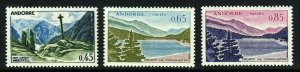 ANDORRA (French) 1961 Scenic Views Issue 45c, 65c, & 85c. SG F176, 178 & 179 MNH