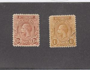 ST. VINCENT (MK1022) # 120,128 VF-USED 1,11/2d KGV PROFILE/RED-BRN & BRN CAT $60