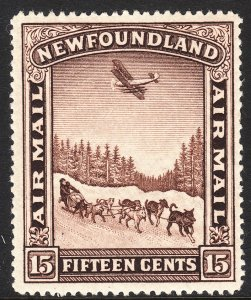 1931 Newfoundland watermark 224 airmail 15¢ issue MLMH Sc# C9 CV: $10.00