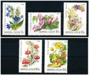 Russia MNH 5687-91 Flowers SCV 2.80