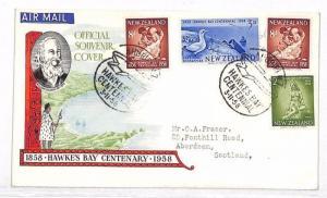 VV285 1958 New Zealand Hawkes Bay Aberdeen Scotland GB Cover {samwells-covers}