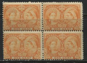 Canada 1897 1 cent orange Jubilee unmounted mint NH block of 4