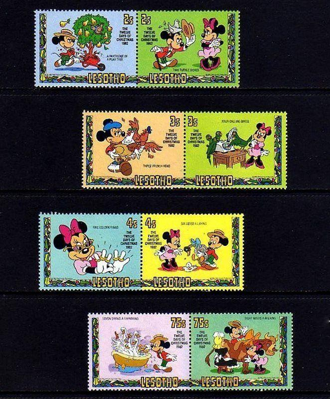 lesotho 1982 disney 12 days of christmas mickey minnie 8 - Disney 12 Days Of Christmas