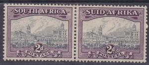 SOUTH AFRICA 1933 UNION BUILDINGS 2D GREY AND PURPLE PAIR HYPHENATED PRINTING