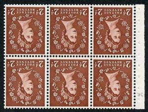 SB78a 2d Light Red-Brown Wmk Edward INVERTED U/M Booklet Pane 6
