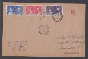 Mauritius Sc 208-210 FDC. 1937 Coronation, cplt set on Selfridge & Co cover
