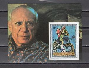 Fujeira, Mi cat. 1378, BL140 B. Pablo Picasso, IMPERF s/sheet. *
