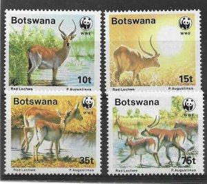 1998 BOTSWANA  - SG. 648 / 651 - RED LECHWE - WWF - UMM