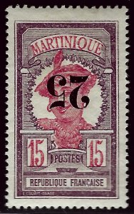 Martinique #107b Inverted Surcharge Mint VF hr SC$57.50..Very Popular Country!