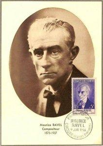 90115 - FRANCE - Postal History - FDC MAXIMUM CARD - 1956 Maurice RAVEL  Music