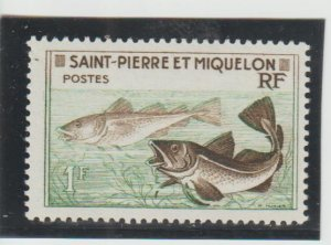 St. Pierre & Miquelon  Scott#  352  MH  (1957 Codfish)