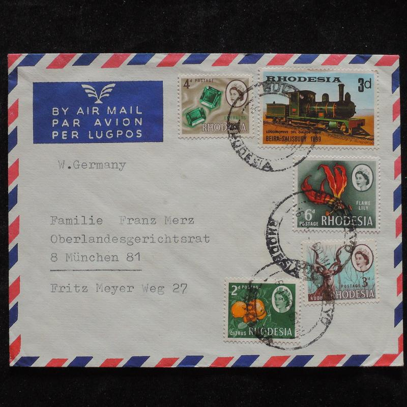 ZS-T922 RHODESIA - Trains, Minerals Great Franking To Germany Cover