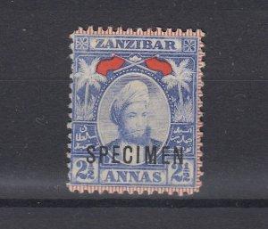 Zanzibar 1896 2 1/2A Specimen MH JK6015