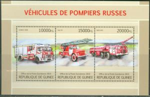 GUINEA 2013 RUSSIAN FIRE ENGINES SHEET OF THREE STAMPS MINT NH
