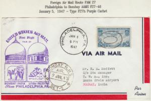 #F27-46 PHILADELPHIA TO BOMBAY FIRST FLIGHT BM265