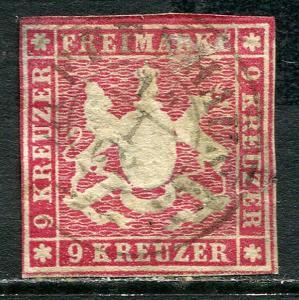GR Lot 10498 Altdeutschland Württemberg 1859 Michel 14  9 Kreuzer Freimarken Wap
