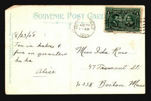 Canada 1908 Postcard to Boston / Left Corner Damage - Z15417