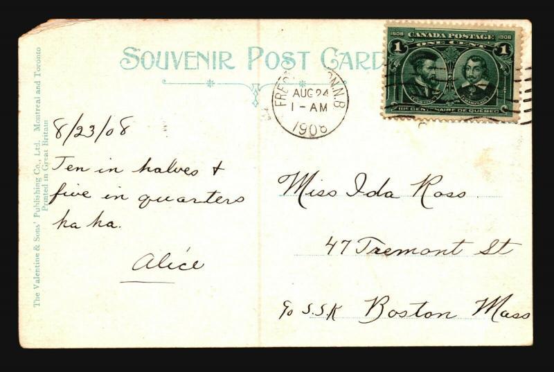 Canada 1908 Postcard to Boston / Left Corner Damage - Z15417