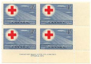 Canada - 1952 Red Cross Plate Blocks mint #317 Plate 1 & 2 MS F+VF-NH
