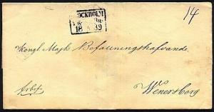 SWEDEN 1839 wrapper used STOCKHOLM TO WENERSBORG...........................19939