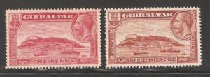 Gibraltar 1931,KGV,Sc 96-97,VF Mint No Gum (L-1)