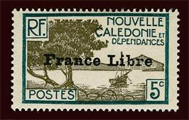 NEW CALEDONIA Sc #221 1941 France Libre overprint unused HR