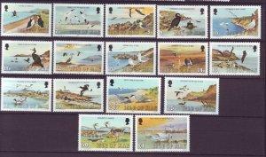 J21973 Jlstamps 1983 isle of man set mnh #224-39 birds