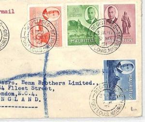 MAURITIUS Cover Port Louis GPO REGISTERED Air Mail London 1951 BH30