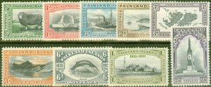 Falkland Islands 1933 Centenary set of 9 to 2s6d SG1270-135 V.F Very Lightly Mtd