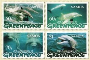 Samoa - Greenpeace & Dolphins on Stamps - 4 Stamp & S/S  19K-003