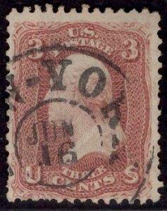 US Stamp #65 3c Rose Wasghington USED SCV $3.00