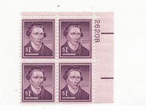 United States, 1052, Patrick Henry Upper Right Plt.Blk (4) #26208, MNH