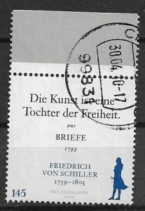 Germany used - 2009 - Friedrich von Schiller - high value - vfu