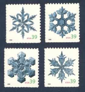 4101-4 Snowflakes Set Of 4 Mint/nh Free shipping (A-114)