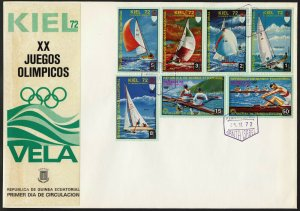 C19 Equatorial Guinea Oversized FDC 1972 Summer Olympics Sailing Kiel set of 7