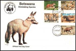 Botswana 182-186 Animals WWF U/A FDC