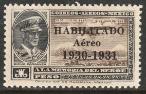 MEXICO C36, $1Peso HABILITADO 1930-1931, CAPT. E. CARRANZA. MINT, NH. F-VF.