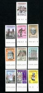 Yemen Stamps # 113-20+C20-1 XF Imperf OG NH Scott Value $25.00