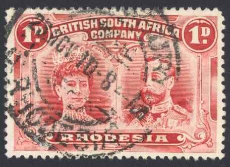 Rhodesia Sc# 102 Used (a) 1910 1p rose carmine Queen Mary & King George V
