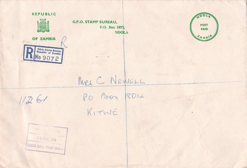 zambia ndola stamp bureau 2 large stamps cover ref 12967