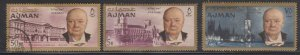 Ajman 1966 Churchill Issue x 3 Values MH and Used - toned perfs