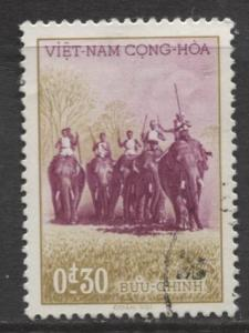 Viet Nam - Scott 64 - Hunters on Elephants Issue - 1957 - FU -Single 30c Stamp