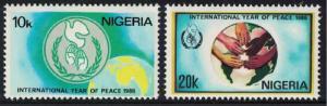 Nigeria International Peace Year 2v SG#526-527